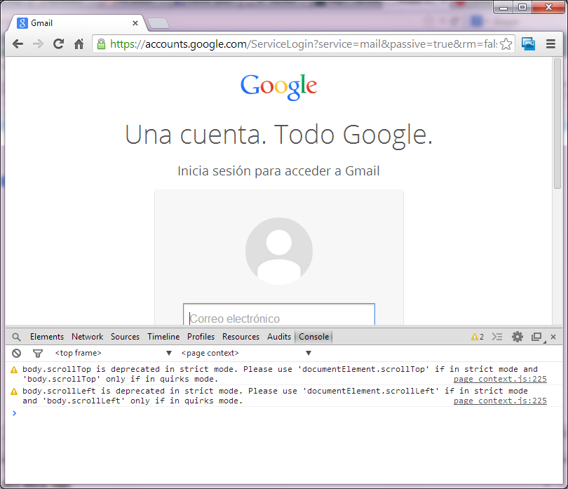 Consola de Google Chrome