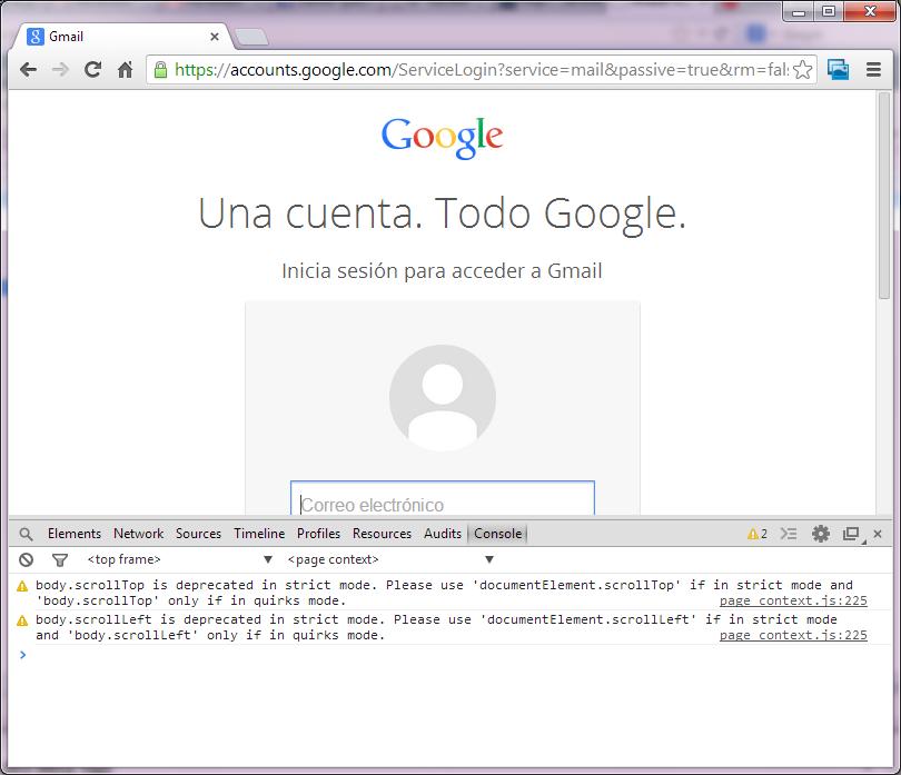 Consola de Google Chrome