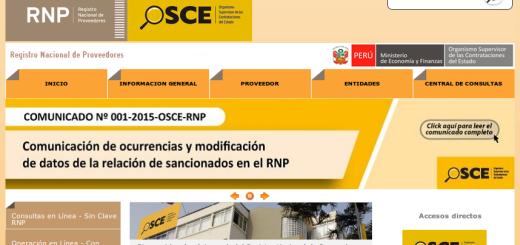 Sitio web del Registro Nacional de Proveedores (RNP)vvvvvvvvvvv