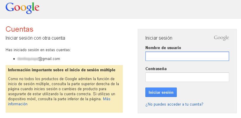 Iniciar sesión en segunda cuenta de Gmail