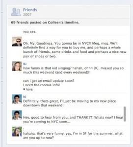 Usando los estados de Facebook como tablón de conversación