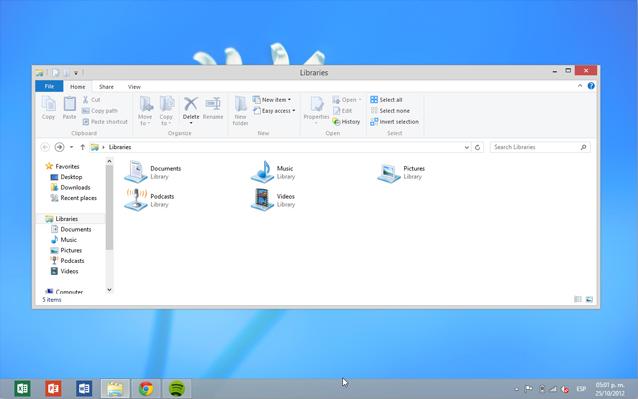 En Windows 8 el escritorio clásico se muestra como una aplicación más