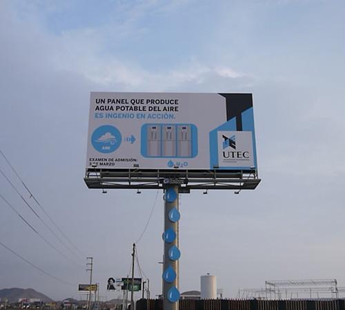 Panel publicitario que genera agua potable a partir de la humedad del aire