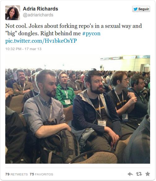 Post y foto de Adria Richards por broma pesada en la PyCon