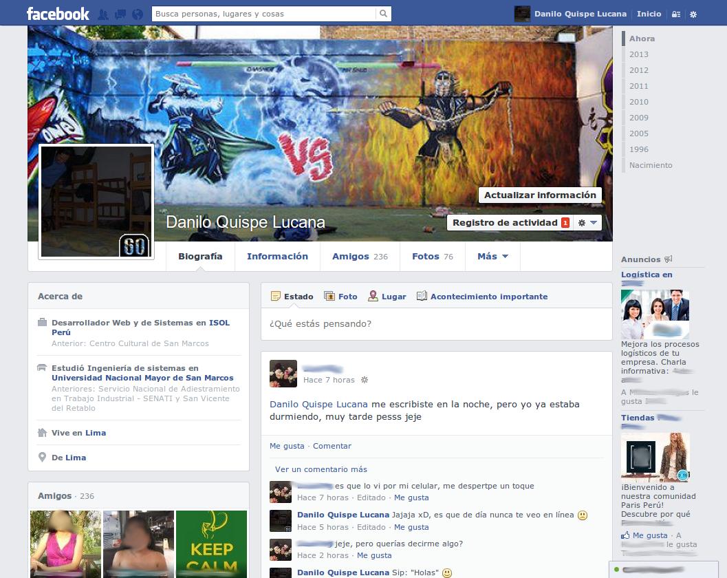 Nuevo diseño de la biografía de Facebook