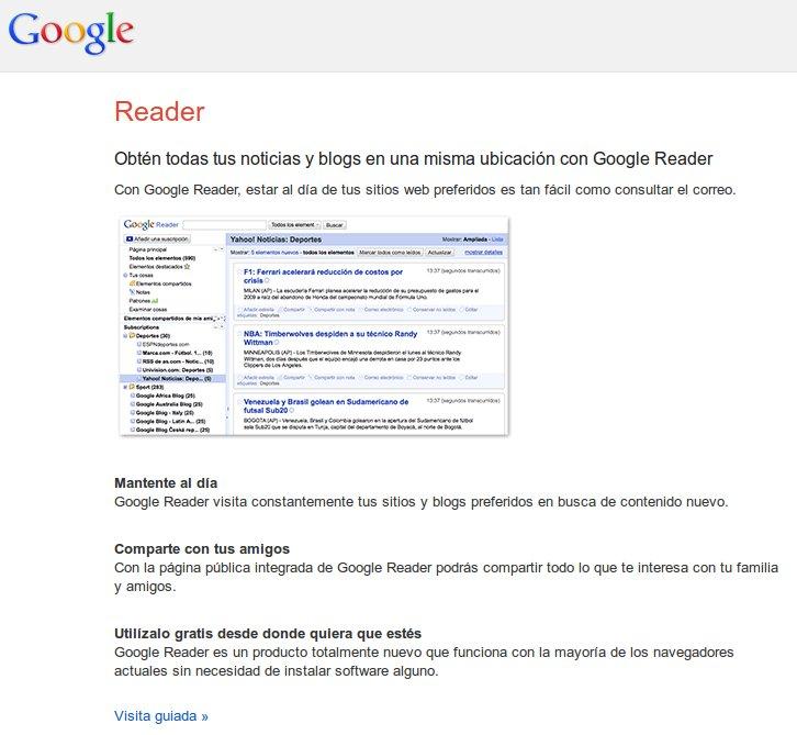 Página de inicio de Google Reader