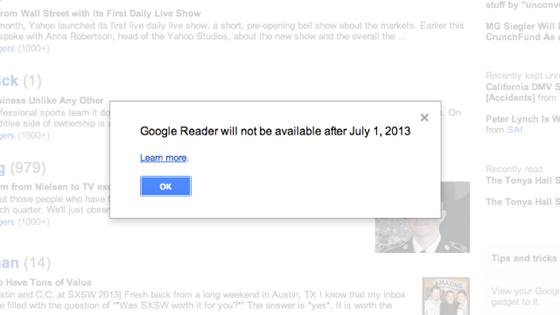 Aviso del cierre de Google Reader al iniciar sesión