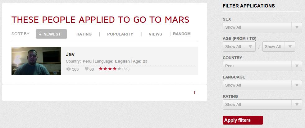 Un voluntario del Perú ya se registró para el viaje a Marte
