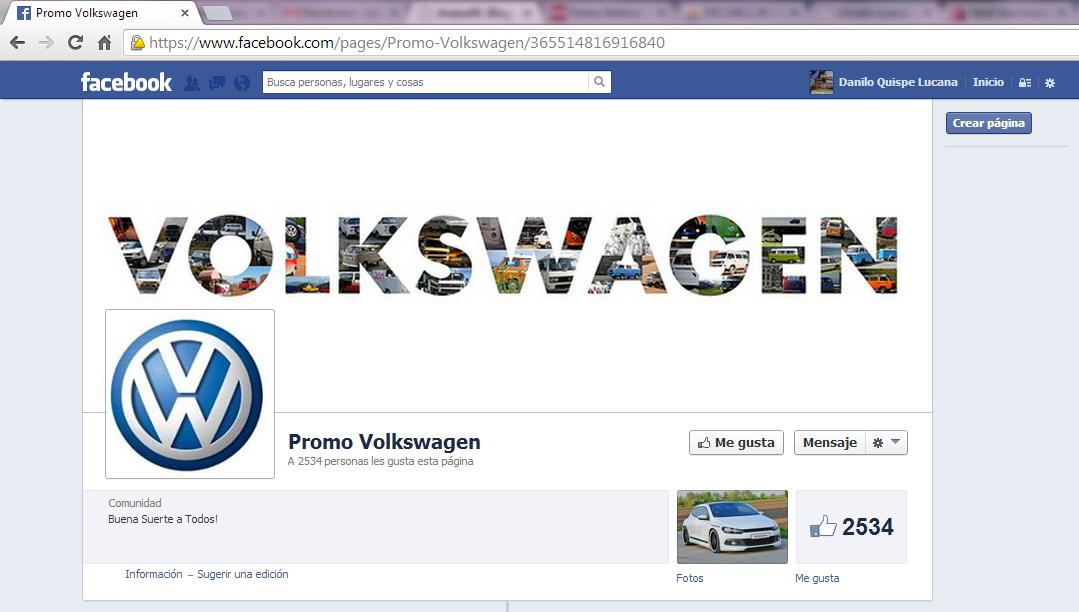 Página de Facebook que anuncia un supuesto sorteo (falso) de un auto Volkswagen