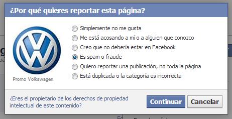 Opción para reportar una página en Facebook