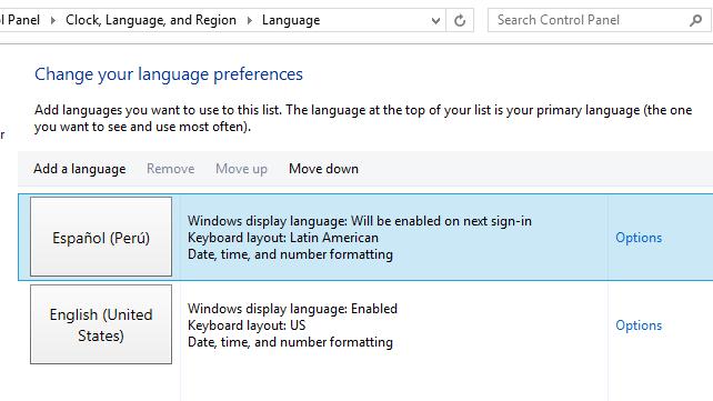 Poner Windows 8 en español