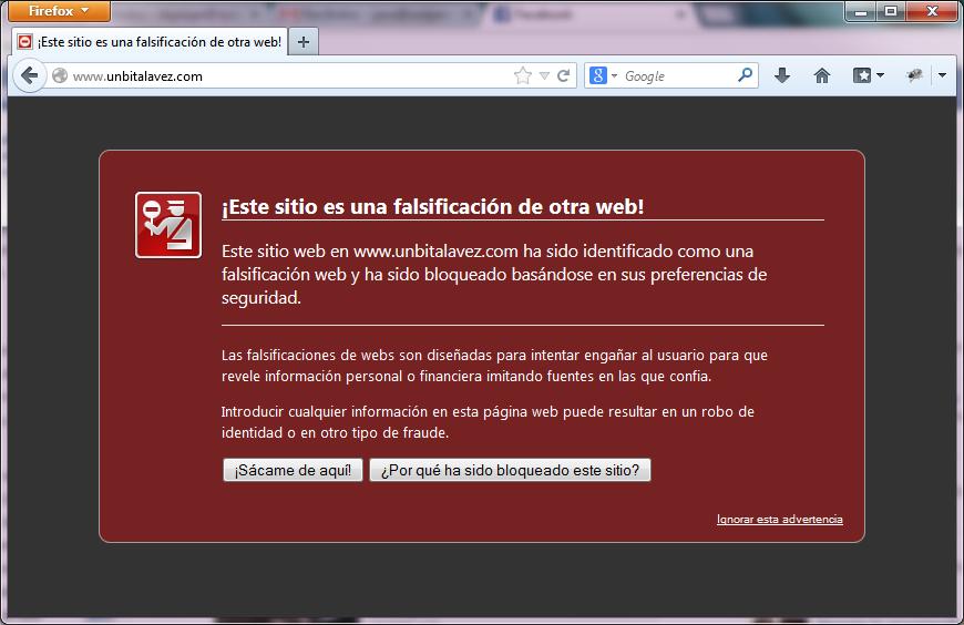 Advertencia de phishing en unbitalavez.com al acceder desde Mozilla Firefox