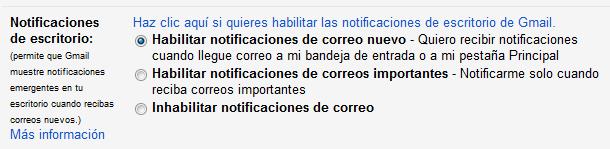 Configuración de notificaciones de escritorio de Gmail