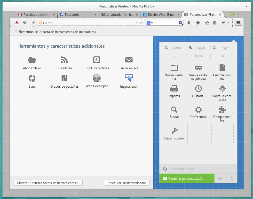 Pantalla de personalización de Firefox 29