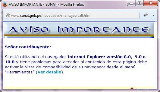 Aviso para usar la Vista de compatibilidad en Internet Explorer para que SOL funcione correctamente