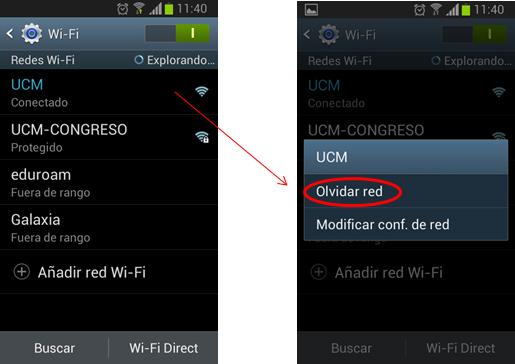 """Opción para """"olvidar"""" una red Wi-Fi en Android"""