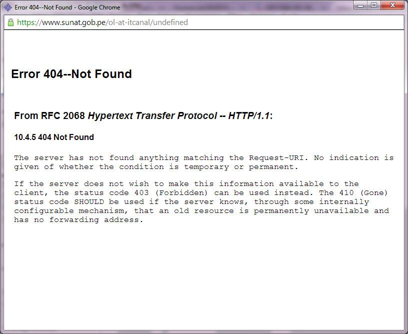 Cuarto mensaje de error (error 404) en la ventana principal de SOL para pagos desde Google Chrome