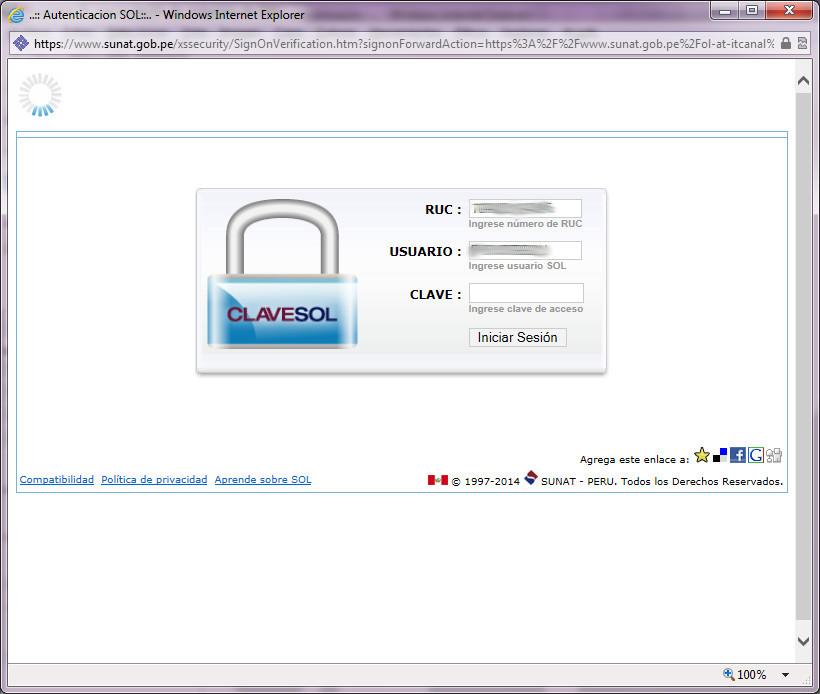 Ventana de inicio de sesión de SOL para pagos en Internet Explorer 11 (sin vista de compatibilidad)