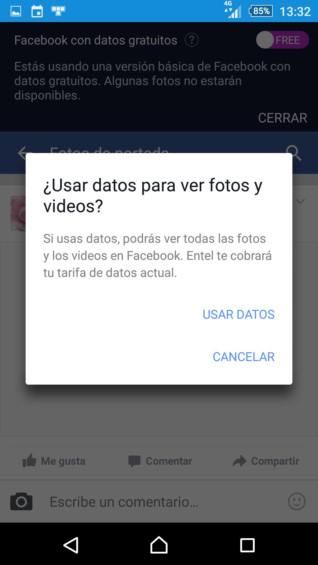 Advertencia antes de mostrar una foto en Facebook gratuito (se consumirán los datos de tu plan)