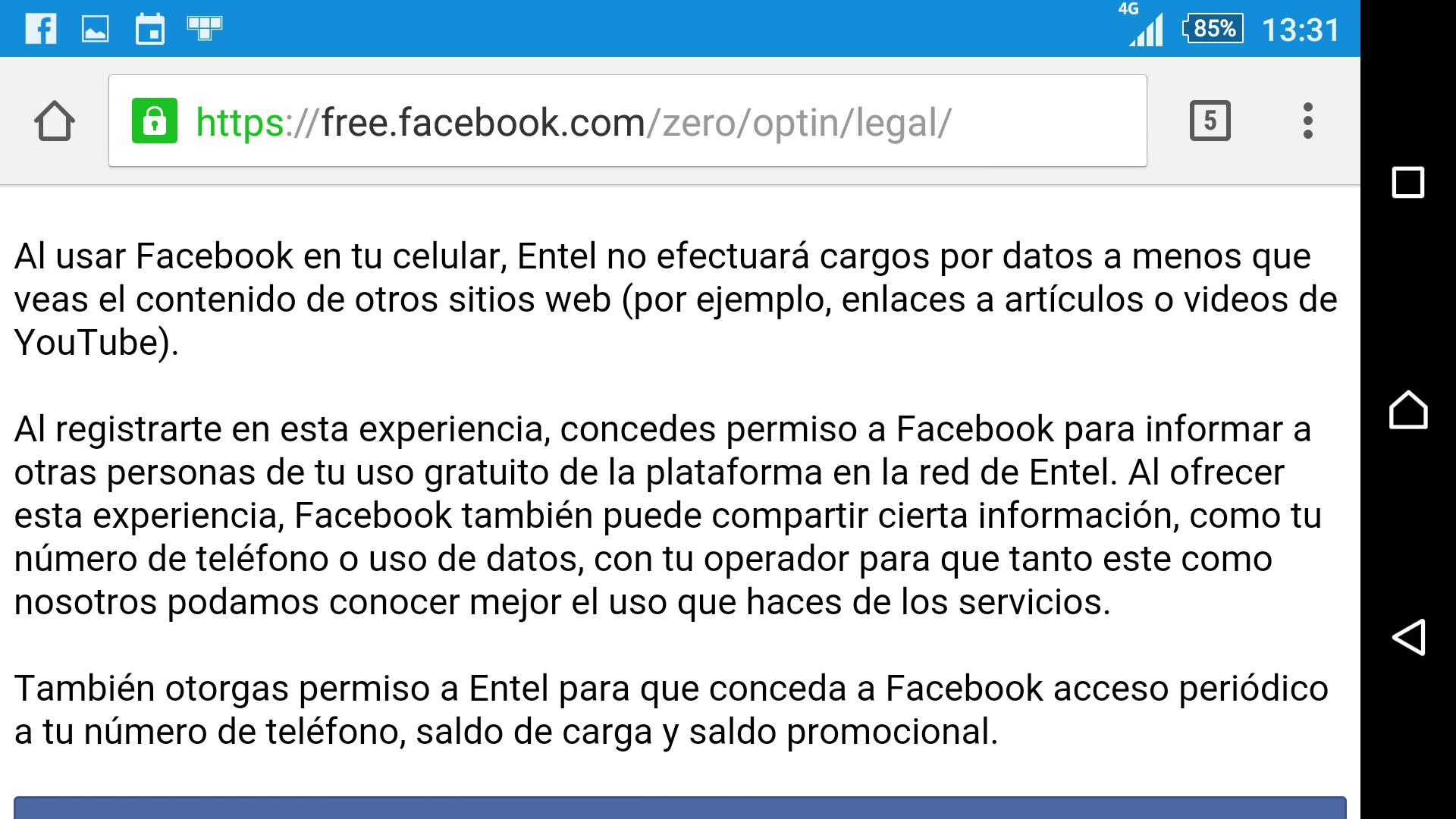 Condiciones de uso para Facebook gratuito con Entel