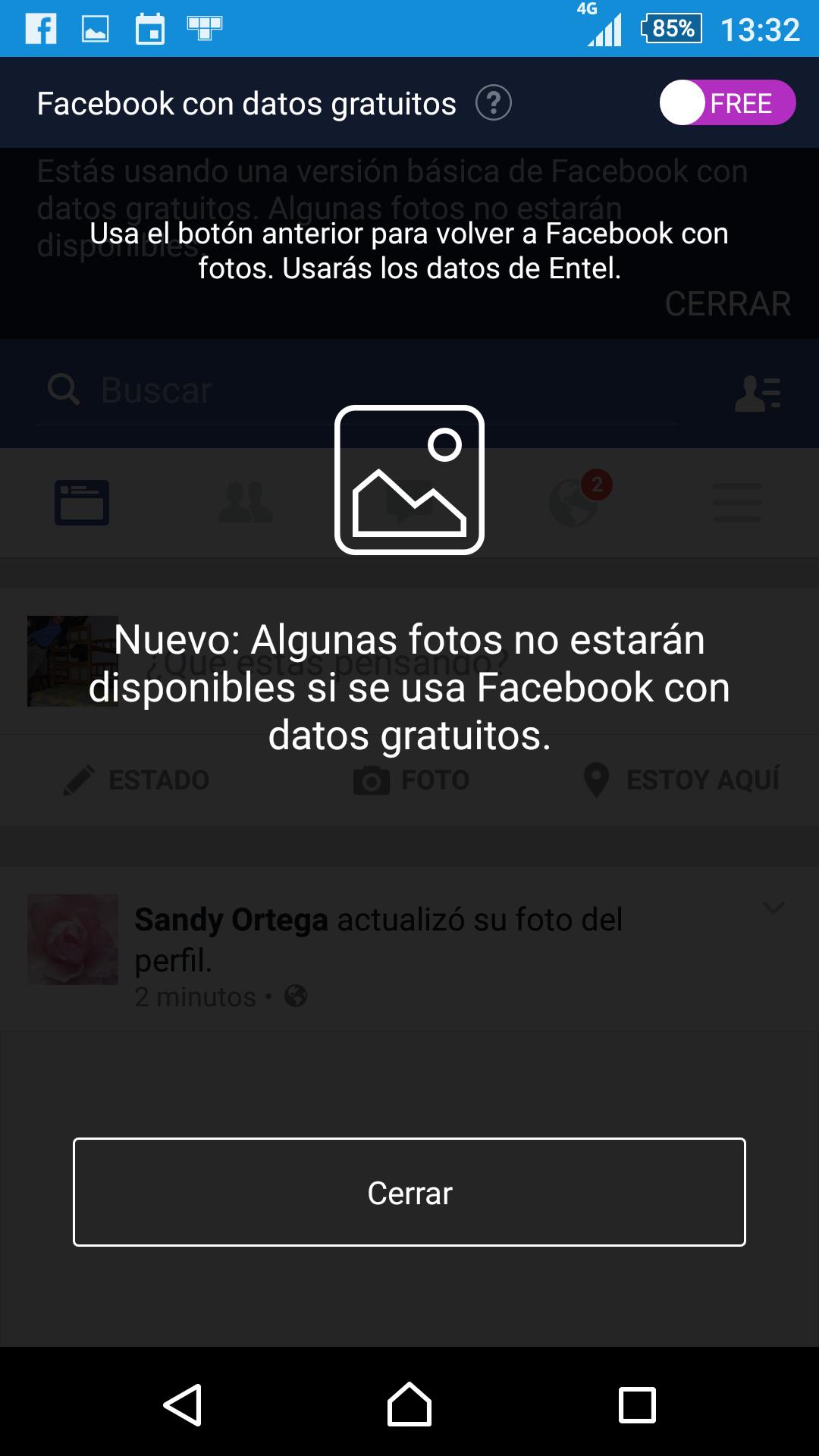 Interruptor para cambiar entre los modos Free y Data en Facebook (la orimera vez se muestra así)