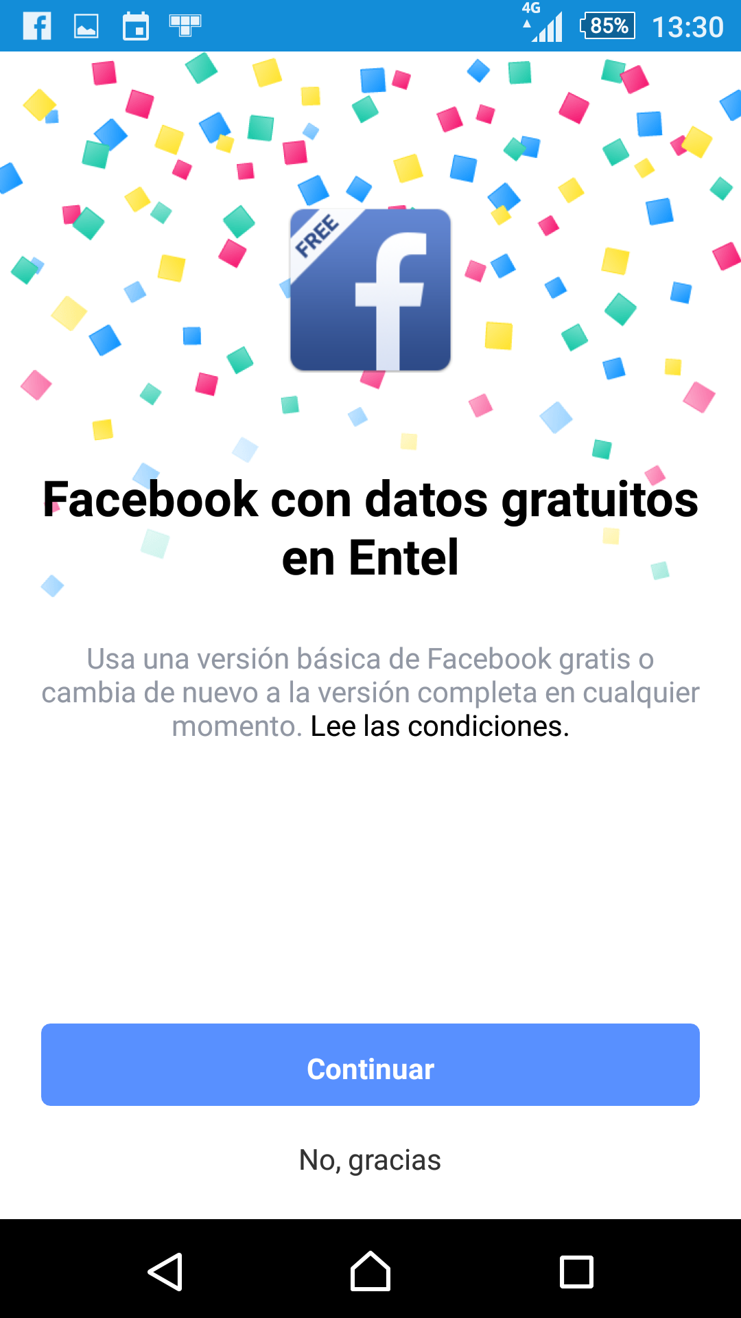Saludo Facebook con datos gtatuitos en Entel