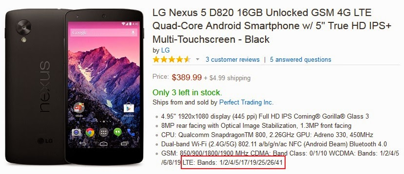 Especificaciones del Nexus 5 para 4G LTE