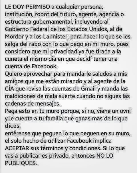 """Mensaje paródico de la """"declaración de privacidad"""" en las biografías de Facebook"""