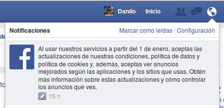 Notificación de cambios en las políticas de Facebook a partir del 1 de enero del 2015
