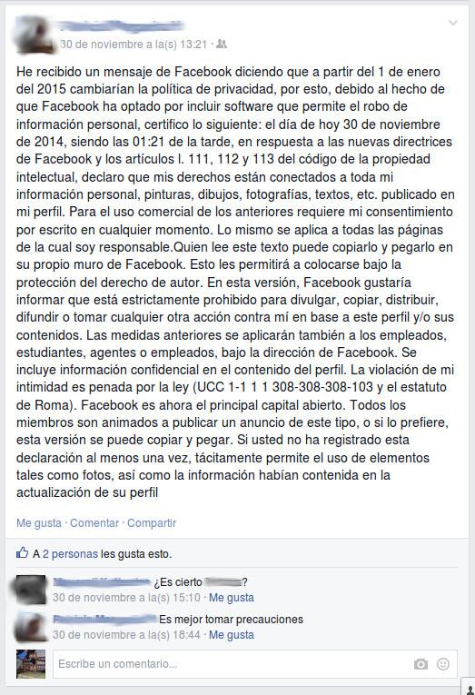 Declaración de privacidad que usuarios de Facebook han publicado en sus biografías