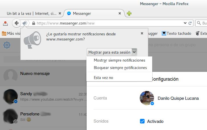Activando las notificaciones de escritorio para Messenger.com en Firefox