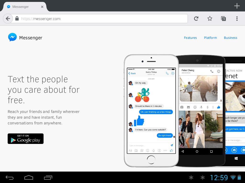 Pantalla de inicio de Messenger.com desde Firefox para Android