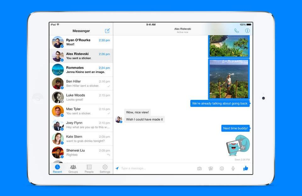 Pantalla principal de Messenger para iPad