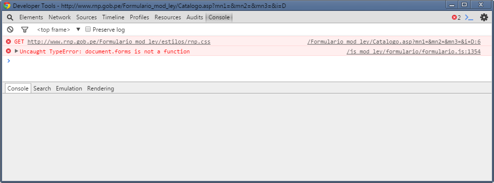Errores detectados por Google Chrome en el formulario de inscripción en el RNP