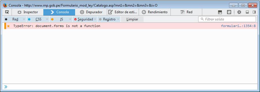 Errores detectados por Mozilla Firefox en el formulario de inscripción en el RNP