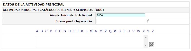 Sección del formulario de inscripción en el RNP para indicar productos o servicios brindados