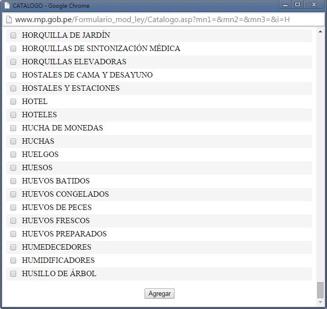 Ventana flotante de selección de productos o servicios prestados en el formulario de inscripción en el RNP