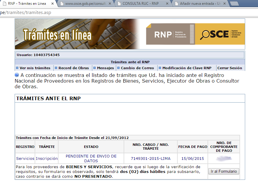 Pantalla inicial del Registro Nacional de Proeedores (RNP)