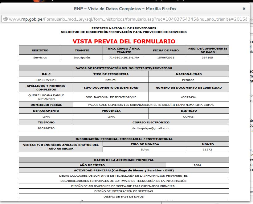 Vista previa de formulario de inscripción en el RNP en Firefox