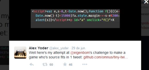 Imagen del código fuente de Tiny Twitch en Twitter