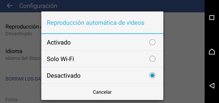 Cómo desactivar la reproducción automática de videos en Facebook para Android