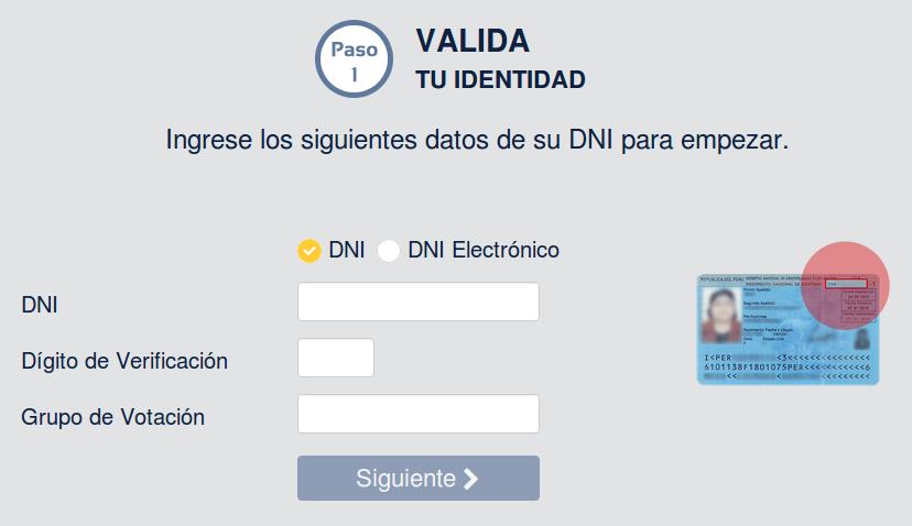 Elige tu local de votación - Elecciones generales 2016: Datos del DNI