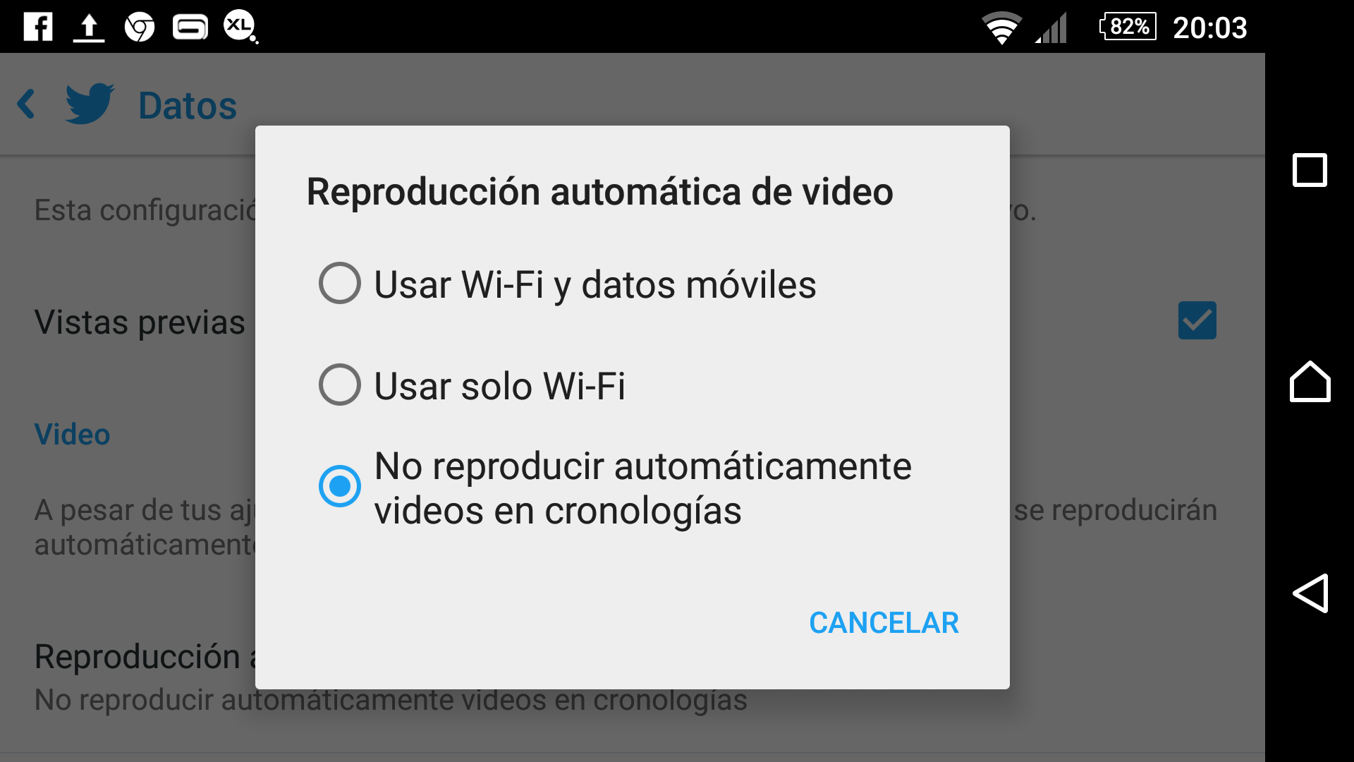 Desactivar reproducción automática de videos en Twitter (Android)