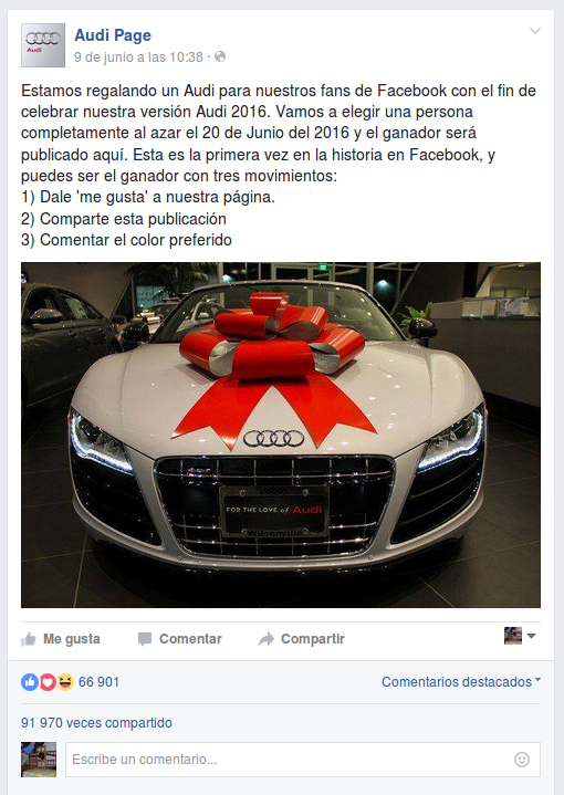 falso sorteo Audi 2016