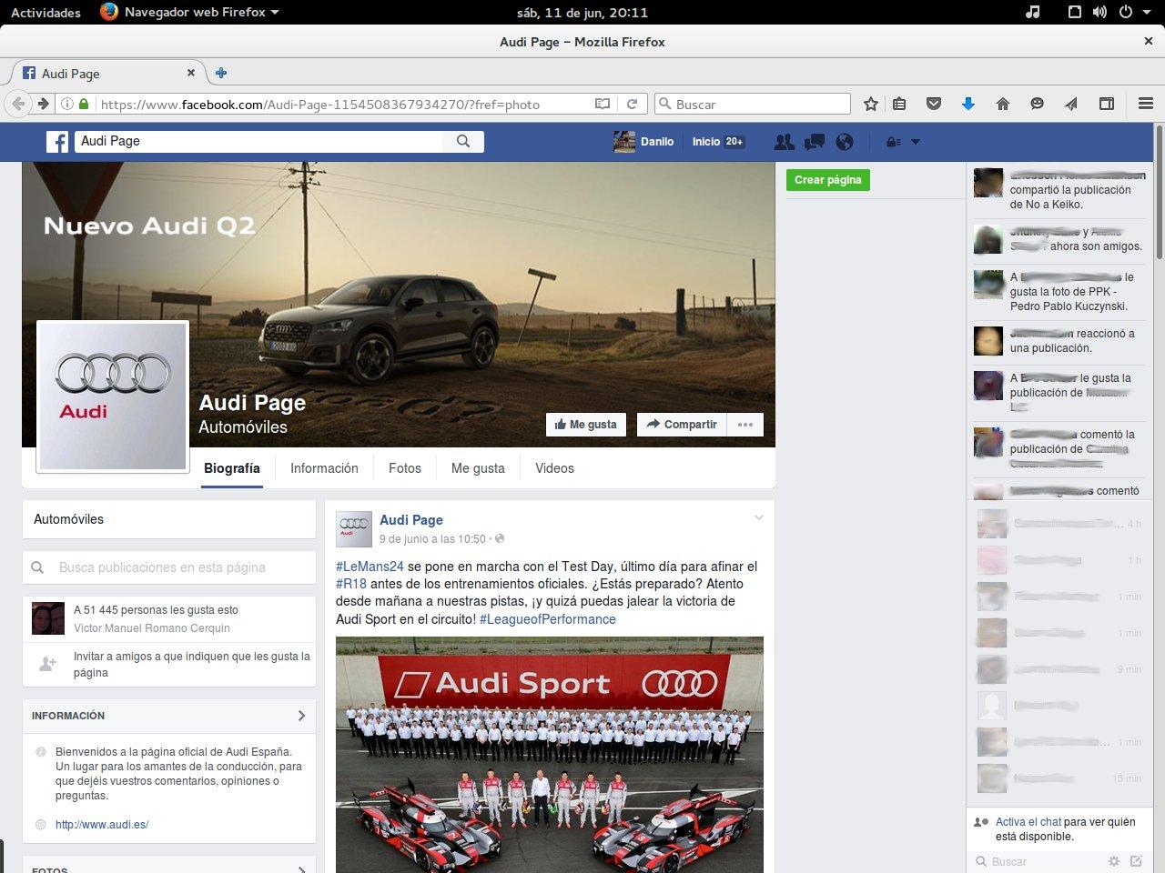 página de Facebook de Audi España (falsa)