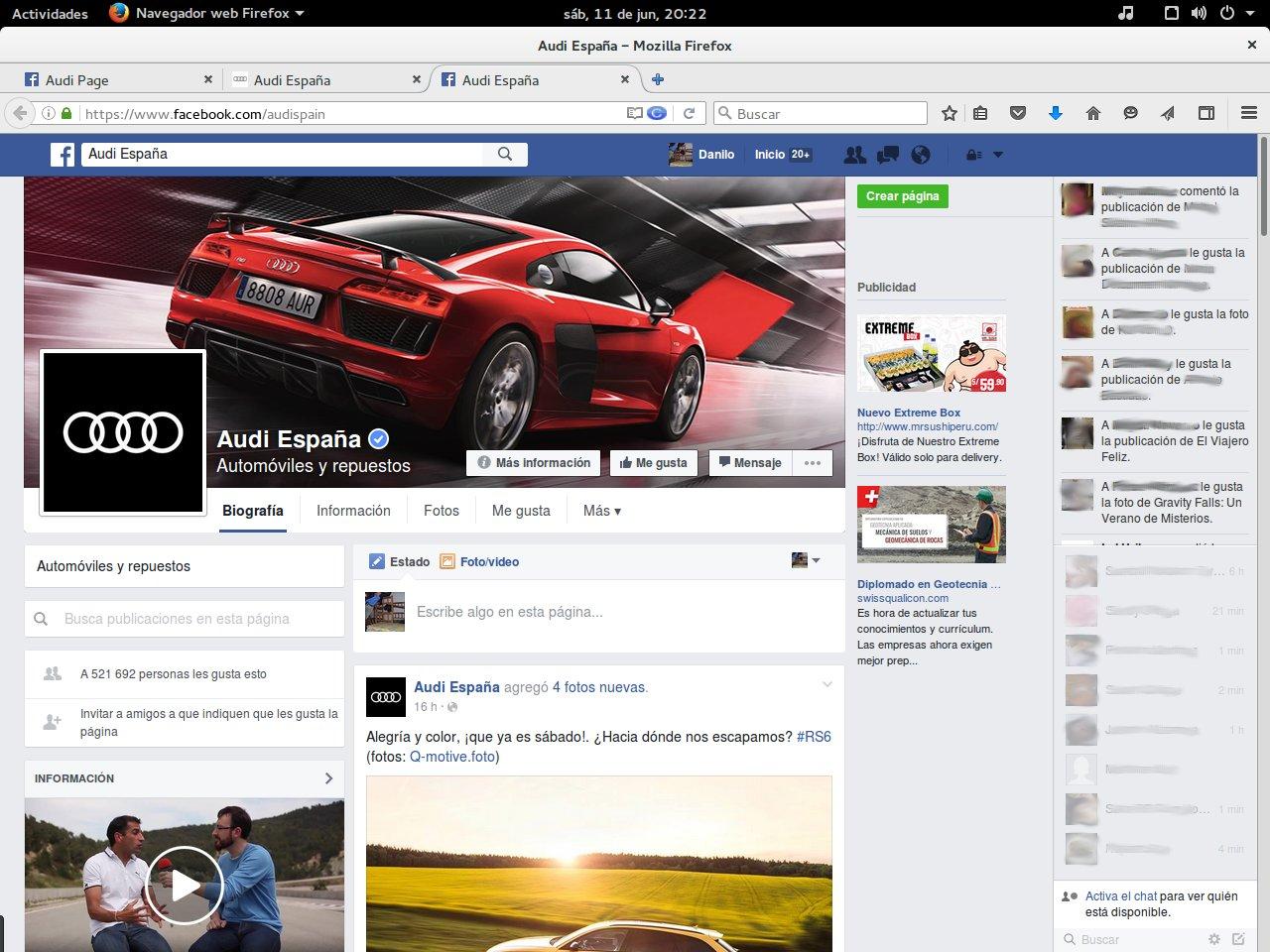 Página de Facebook de Audi España (verdadera)