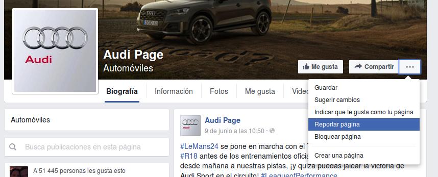 Reportar página en Facebook (1)