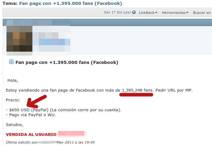 Oferta de venta de fan page de Facebook