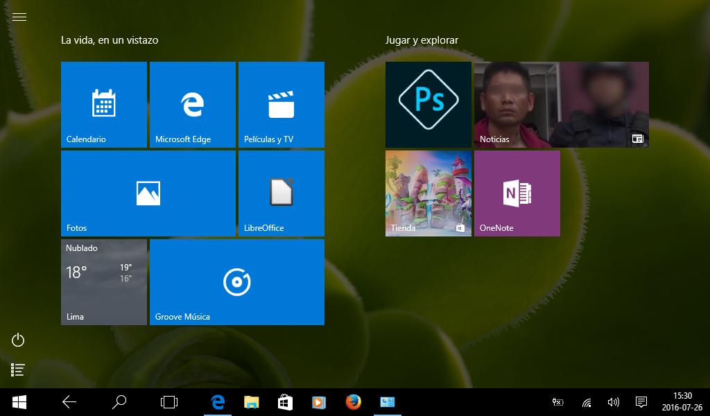 Windows 10 en modo de tableta