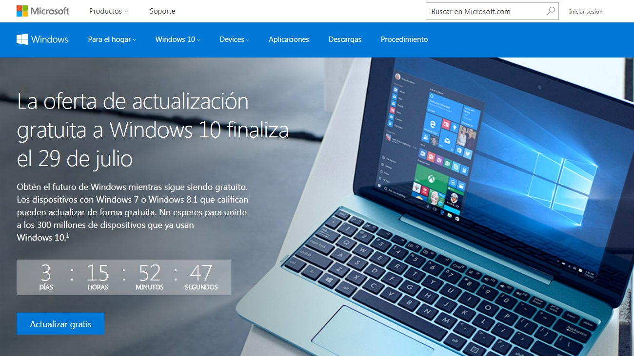 Cuenta regresiva para actualizar gratis a Windows 10